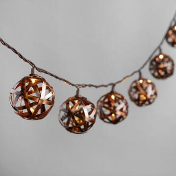 Bronze Metal Orb 10 Bulb String Lights